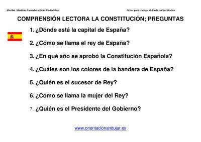 La Constitucion Para Ninos De Infantil Y Primer Ciclo Primaria Presentacion Y Actividades Orientacion Andujar