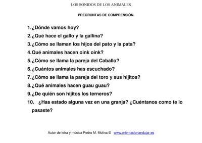 los sonidos de los animales preguntas de comprensión imagenes 2