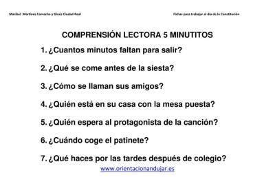 COMPRENSIÓN LECTORA 5 MINUTITOS IMAGEN 2