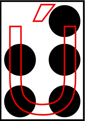 braille letra U acentuada