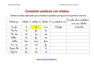 Actividades Dislexia Completar Palabras Con Silabas Dejamos