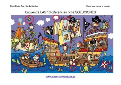 lamina de piratas encuentra las diferencias PIRATAS 3