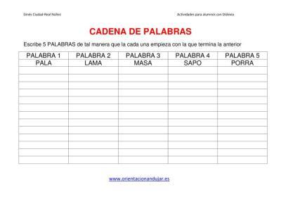 ACTIVIDAES DISLEXIA CADENA DE PALABRAS plantilla imagen 1