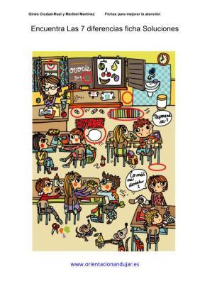 Encuentra las 7 diferencias en el colegio nivel medio ficha de soluciones