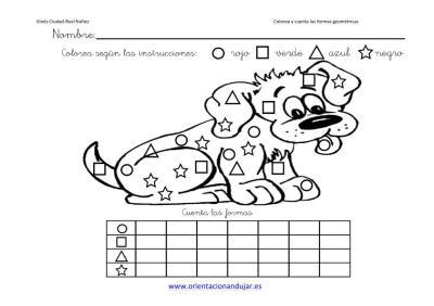colorea y cuenta las formas geometricas con animales imagenes_1