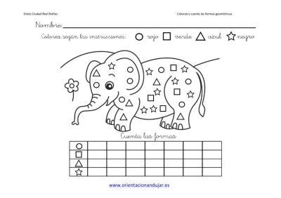 colorea y cuenta las formas geometricas con animales imagenes_4
