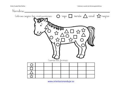Colorea Y Cuenta Las Formas Geometricas Con Animales Orientacion