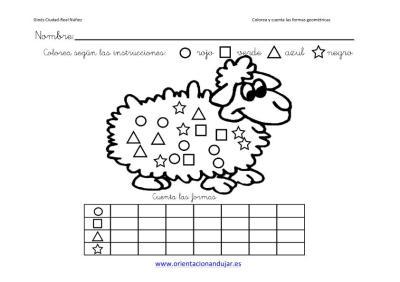 colorea y cuenta las formas geometricas con animales imagenes_8