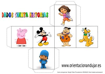 cubo para contar historias color dibujos animados 1