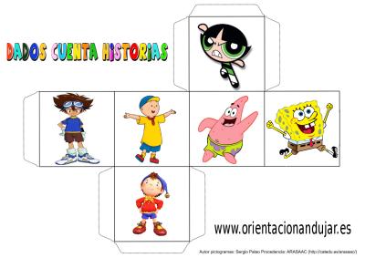 cubo para contar historias color dibujos animados 3