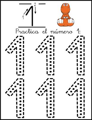 lectoescritura de numeros el 1 ficha 4