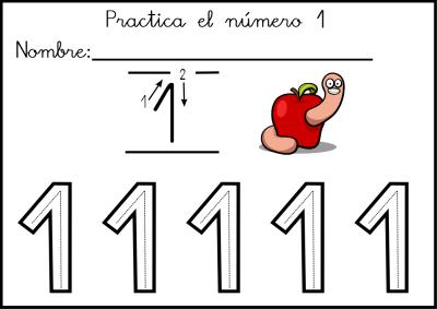 lectoescritura de numeros el 1 ficha 5
