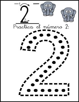 lectoescritura de numeros el 2 ficha 3