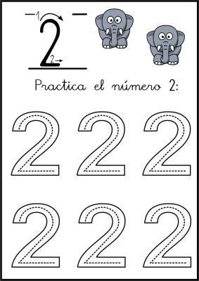 lectoescritura de numeros el 2 ficha 4