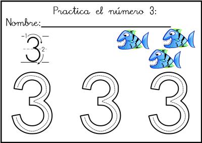 lectoescritura de numeros el 3  ficha 6