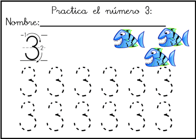 lectoescritura de numeros el 3  ficha 8