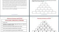 Las pirámides de palabras o letras son series crecientes de palabras que se disponen escalonadamente de forma que la palabra inmediatamente superior tiene una letra menos que la inferior. El […]