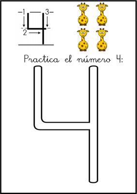 lectoescritura de numeros el 4 ficha 4
