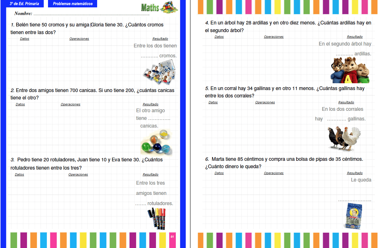 Colección de problemas para 3º de Primaria en PDF e Interactivos ...