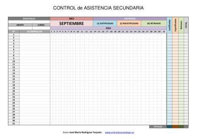 CONTROL DE ASISTENCIA SECUNDARIA