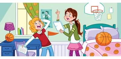 lamina expresion oral  estudiando en casa
