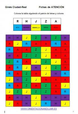 Bateria de actividades de atención y estimulación cognitiva letras colores nivel avanzado