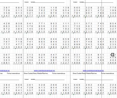 Colección de cuadernos de fichas de sumas de números de tres cifras 4 filas imagen destacada