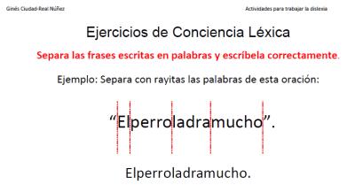 Ejercicios dislexia segementacion frases cortas en palabras