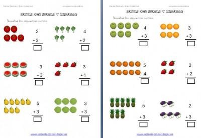 sumas con frutas editable