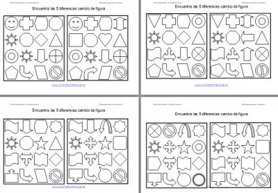 Encuentra las diferencias en formas geometricas Plantilla editable