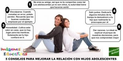 5 CONSEJOS PARA MEJORAR LA RELACIÓN CON HIJ@S ADOLESCENTES