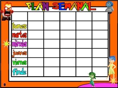 #TDAH PLanificadores semanales 5 tareas INSIDE OUT Inicio de Curso 5