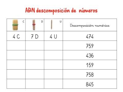 ABN descomposición de numeros hasta centenas9