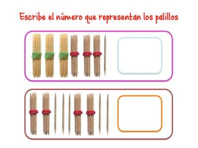 ABN Escribe el número que representan los palillos centenas 11