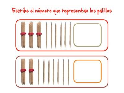 ABN Escribe el número que representan los palillos centenas 5