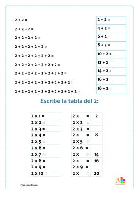 tabla del 2 1