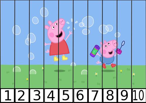 puzles de numeros pepa pig 1-10-3