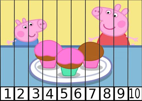 puzles de numeros pepa pig 1-10-5