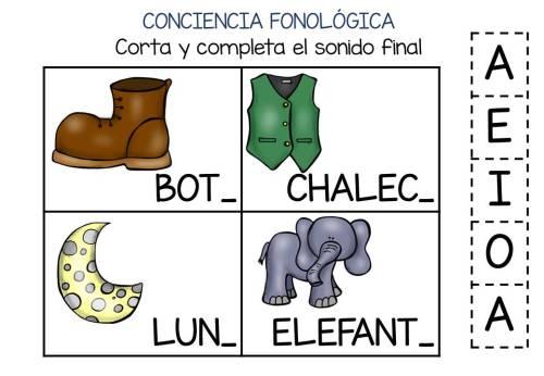 Conciencia fonológica vamos a Jugar con el Sonido Final VOCAL (4)