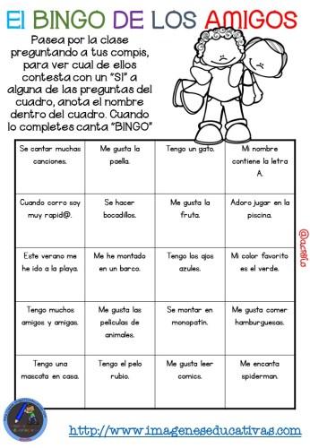 """Actividad para los primeros días de clase """"El BINGO DE LOS AMIGOS"""" (10)"""