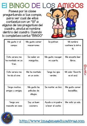 """Actividad para los primeros días de clase """"El BINGO DE LOS AMIGOS"""" (3)"""