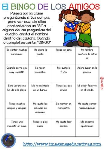 """Actividad para los primeros días de clase """"El BINGO DE LOS AMIGOS"""" (6)"""