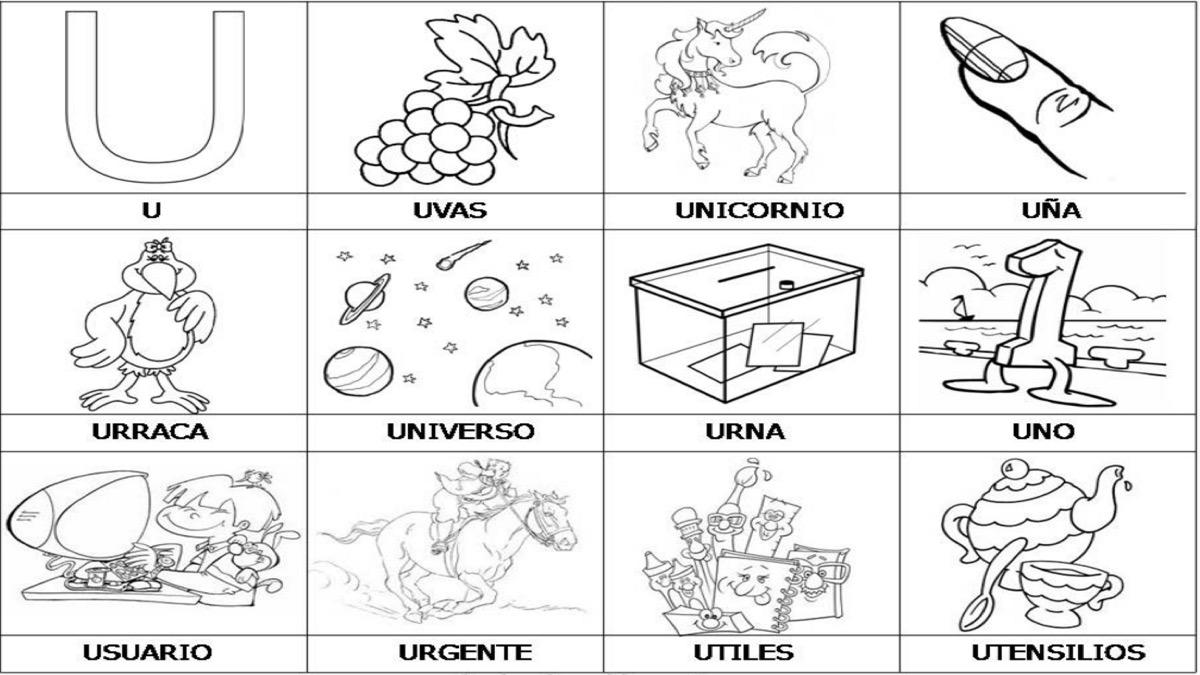 Dibujos Para Colorear Que Empiecen Con La Letra A: Objetos Con Las Letras Del Abecedario. Cheap Objetos Con