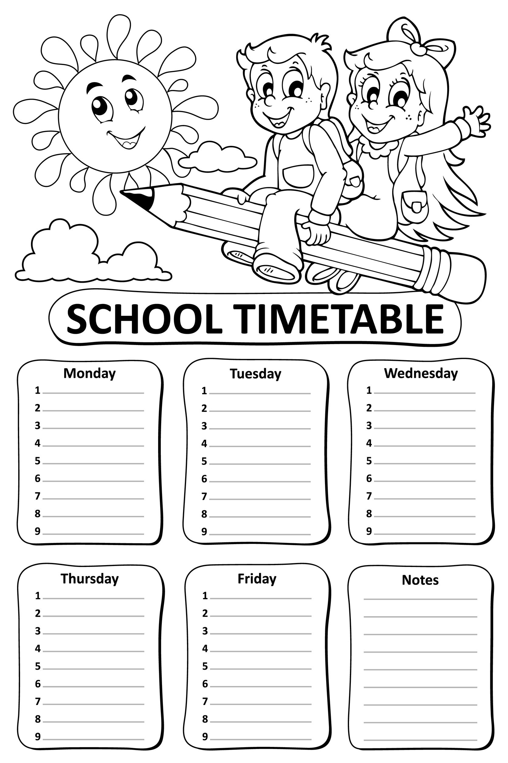 60233187 - black and white school timetable theme