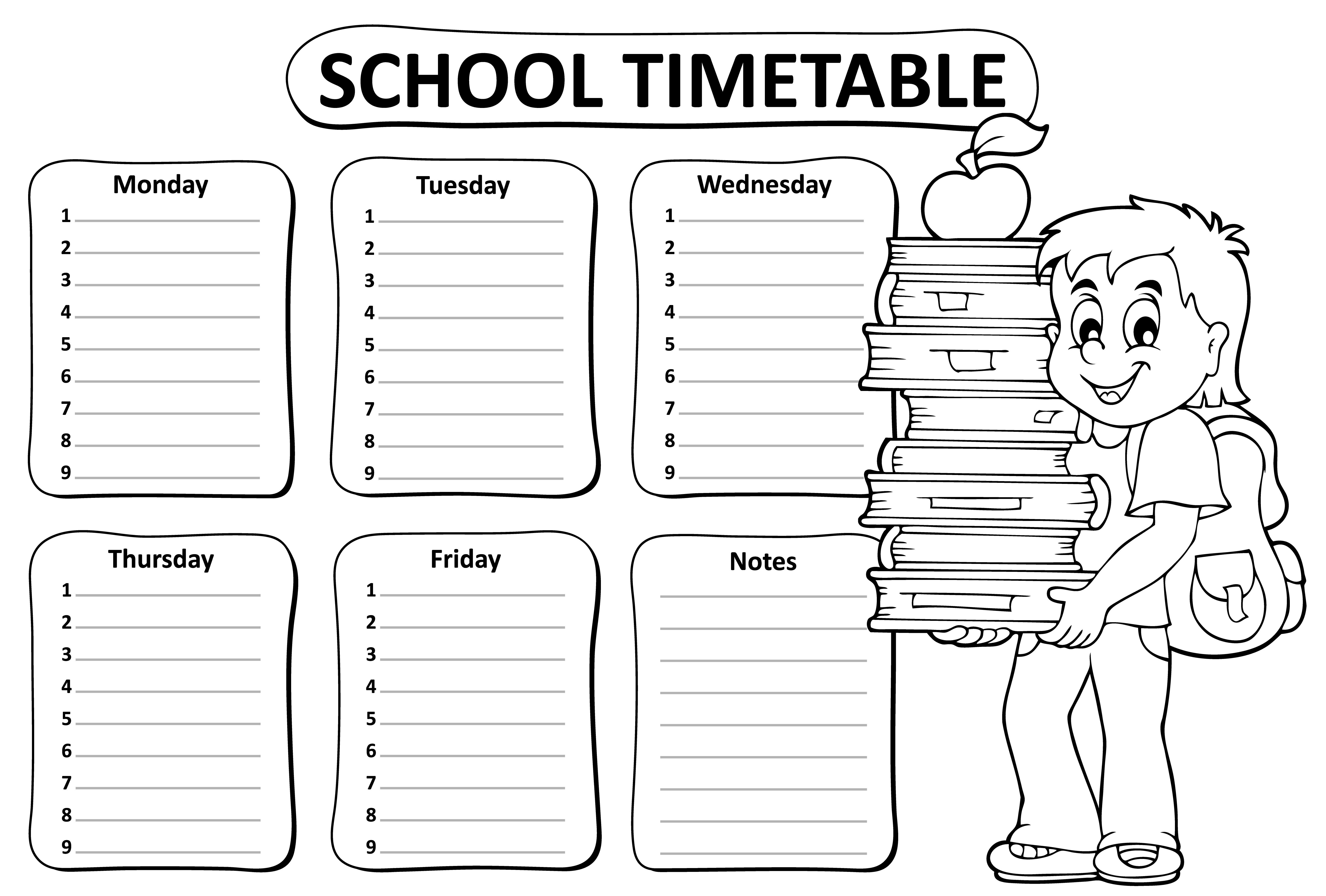 Black and white school timetable theme 2 - eps10 vector illustration.