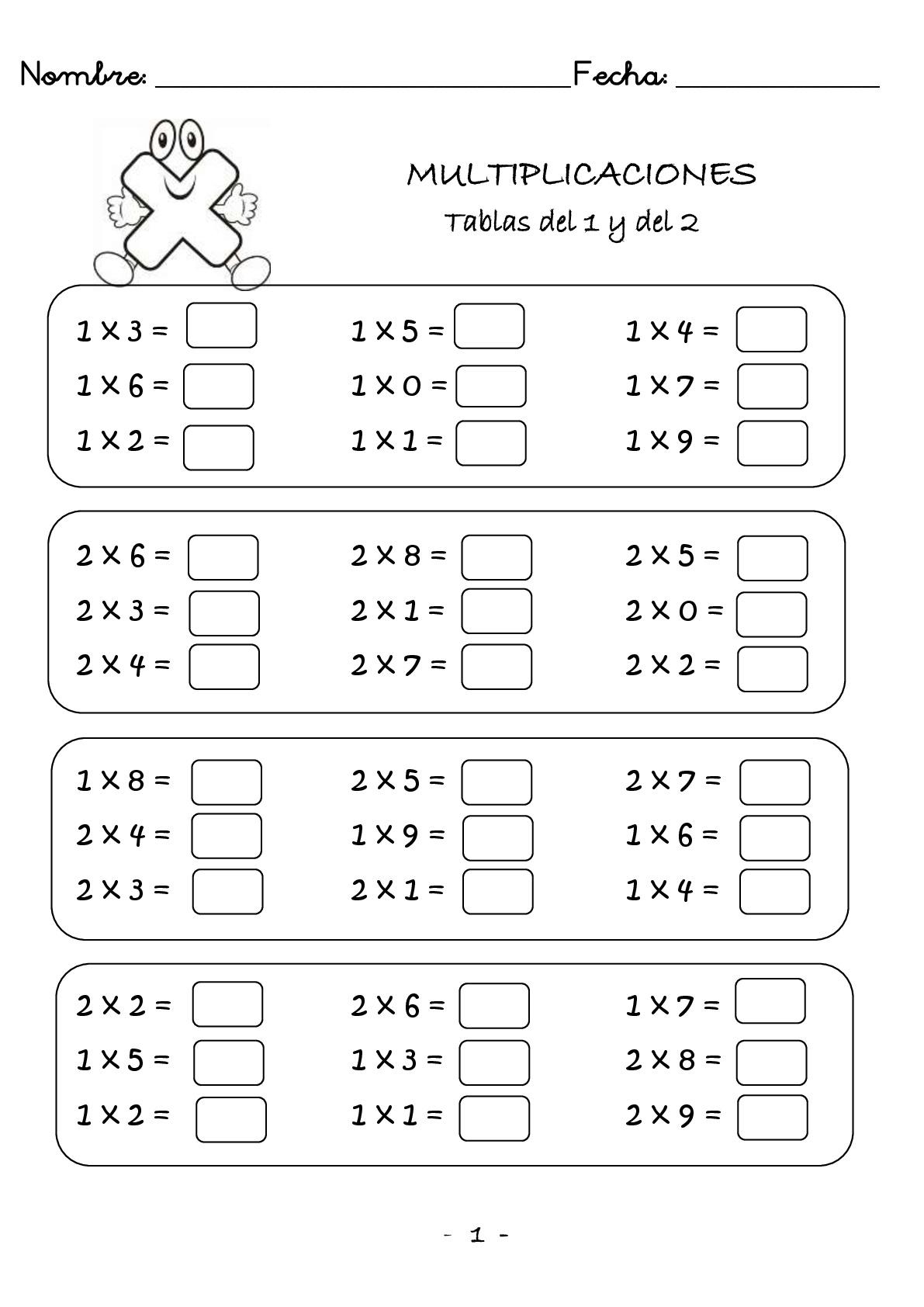 Multiplicaciones para primaria para imprimir Escuela en casa
