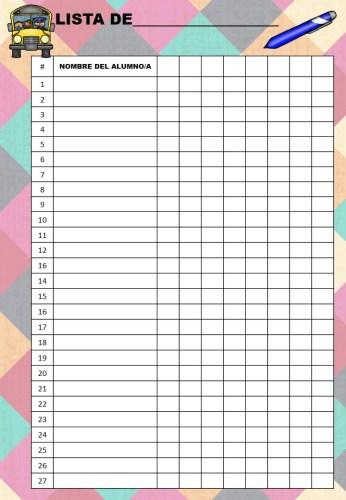 plantilla de listas de alumnos  as variadas para clase a