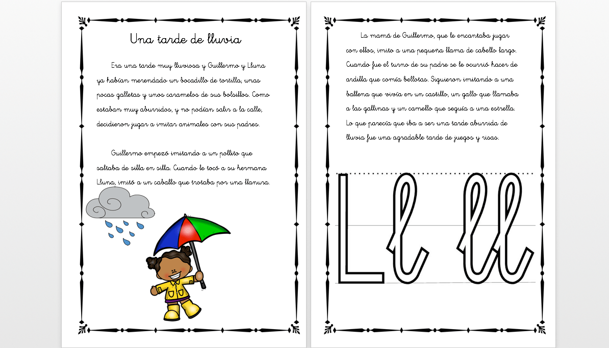 """Cuentos con fonemas la letra """"LL"""" Una tarde de lluvia -Orientacion ..."""