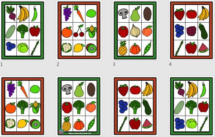 Cartas De Loteria Para Trabajar Frutas Y Verduras Orientacion Andujar