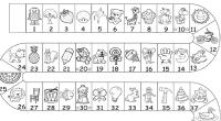 Juego de mesa con los 100 primeros números para trabajar el recomocimiento de los mismos.  CAMINITO 1 AL 100 byn